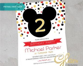 Mickey Mouse birthday invitation,digital printable pdf,Boy birthday,Disney ,printable invitation
