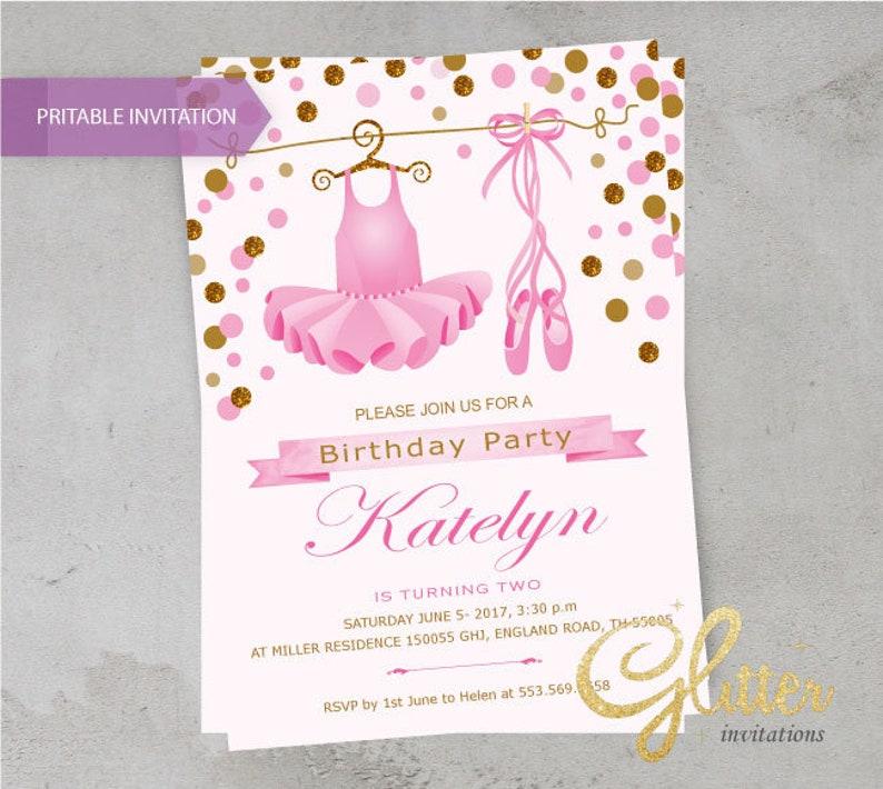 Ballerina Birthday Invitation Tutu And Poem Invite