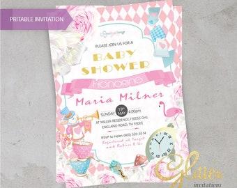 Alice im Wunderland Mädchen Baby-Dusche Einladung, digitale Baby-Dusche Einladung, Mädchen-Einladung, Spielkarten, Tee, Mädchen, druckbare Invitat
