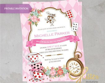 Alice im Wunderland Rombus Rosa Baby-Dusche Einladung, digitale Baby-Dusche Einladung, Mädchen-Einladung, Spielkarten, Tee, Mädchen, druckbare