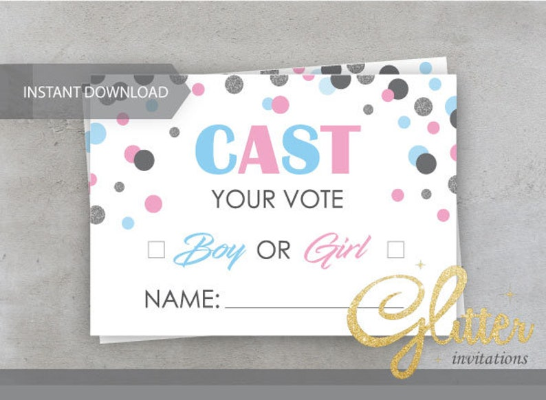 printable pdf boy or girl dots blue and pink CY023 cast your vote Gender reveal shower Games
