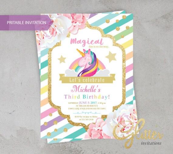 Unicorn Birthday Invitation Printable Girl Birthday Invite Etsy