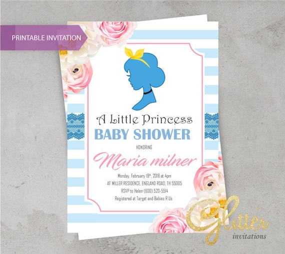 Cinderella Blue And Pink Invite Crown Cinderella Baby Shower Etsy