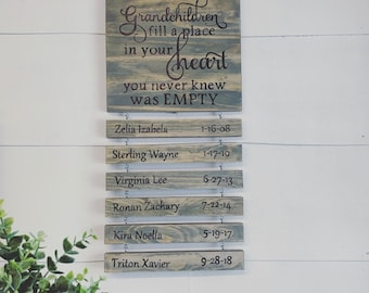 Grandchildren Sign Grandparents Fill A Place In Your Heart Gift For Grandkids