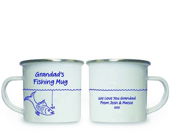 Enamel Fishing Mug - Personalised Name - With Message