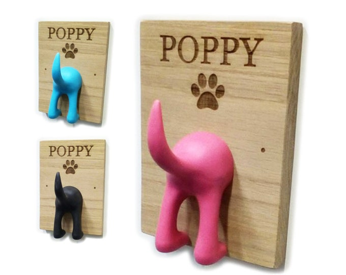 Featured listing image: Personalised Dog Lead Hanger / Hook / Holder for Dog Leash - Solid Oak or Bamboo