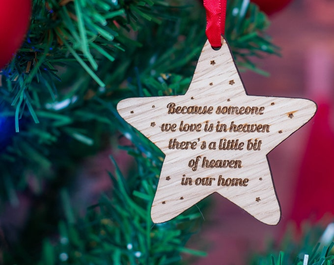 Featured listing image: Oak Star Shape Memory Quote Christmas Decoration.