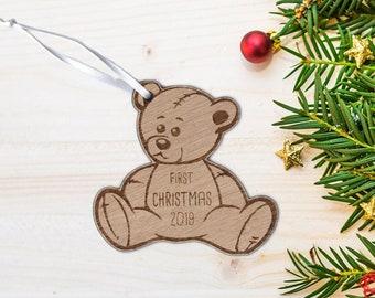 First Christmas 2019 Baby Teddy Oak Christmas Decoration.