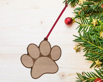 Pawprint / Dog / Cat / Pet Oak Christmas Decoration.