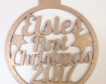 Personalised Baby's First Christmas Laser Cut Bauble