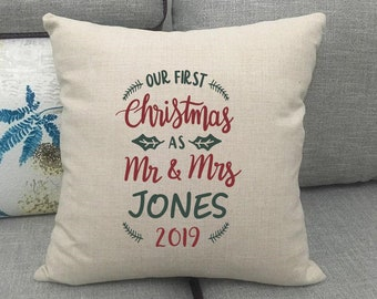 First Christmas As Mr & Mrs 'Surname' Cushion Cover - Wedding / Anniversary / Christmas Gift