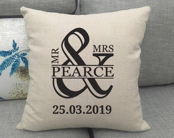 Mr & Mrs 'Surname' Cushion Cover - Wedding Anniversary Gift