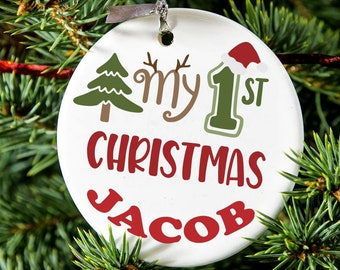 Personalised Name Baby First Christmas Ceramic Bauble Decoration