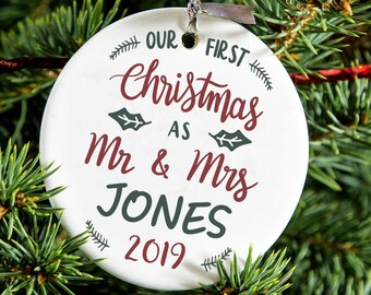 First Christmas As Mr & Mrs 'Surname' 2019 Ceramic  Bauble Decoration