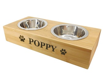 Personalised Dog Food Table - Bamboo Feeding Shelf / Bowl Stand Holder