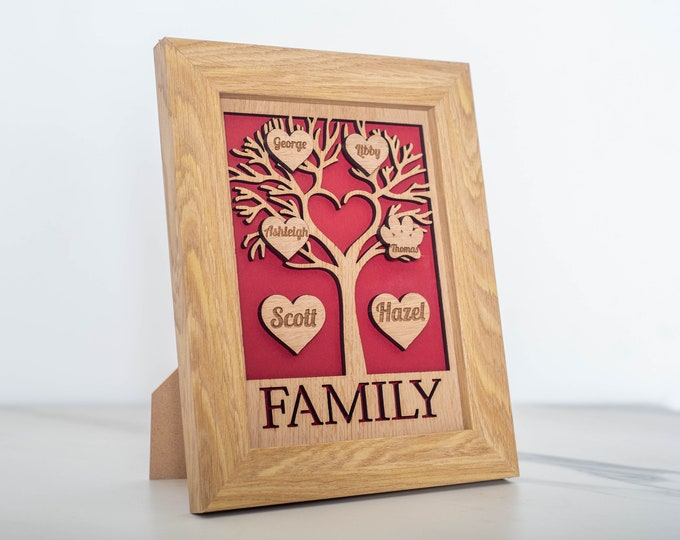 Featured listing image: Personalised Family Tree Frame - Perfect gift for Anniversary - Grandparents - New Parents - New Baby - Wedding Present - Valentines Day
