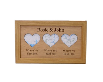 Where We Met LOVE Story Frame - Framed Map Wall Art or Photo Frame