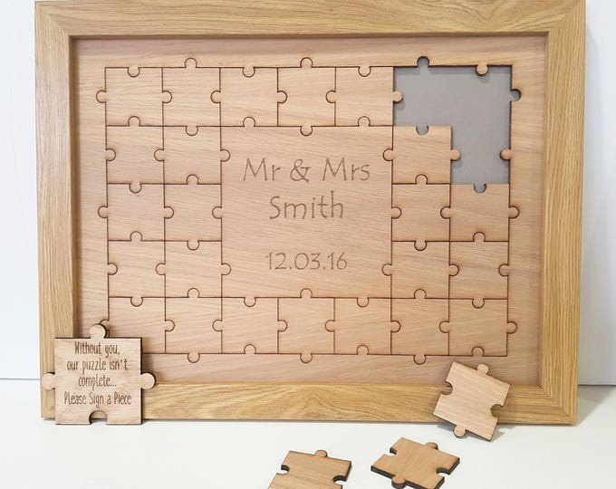 Featured listing image: Oak Wedding Jigsaw Puzzle Guestbook Wooden
