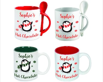 Personalised Christmas Hot Chocolate Name Mug with or without Spoon