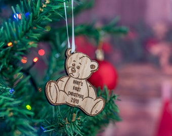 First Christmas 2019 Baby Teddy Oak Christmas Decoration.