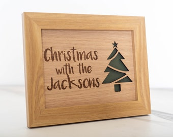 Oak Christmas With Family Frame
