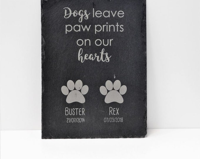 Featured listing image: Pet Memorial Burial Slate - Dogs / Cats Leave Paw Prints On Our Hearts - Grave Memory Plaque