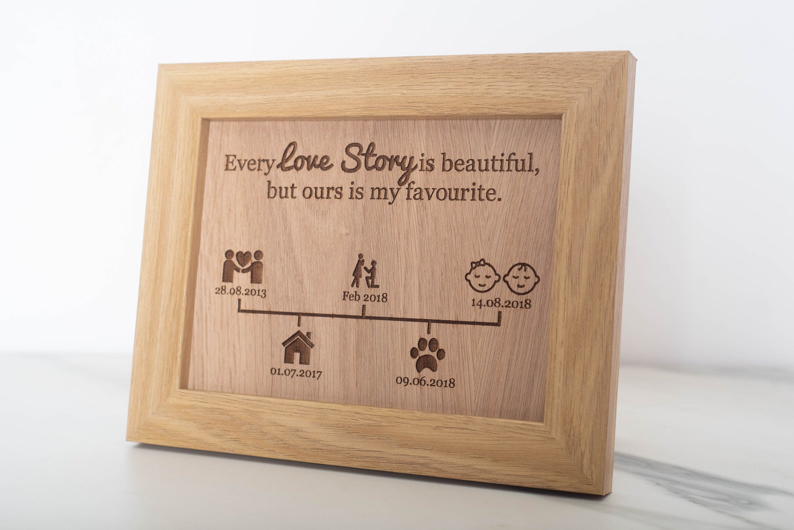 Personalised our love story oak frame