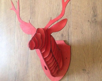 Wooden Stags Head Wall Art