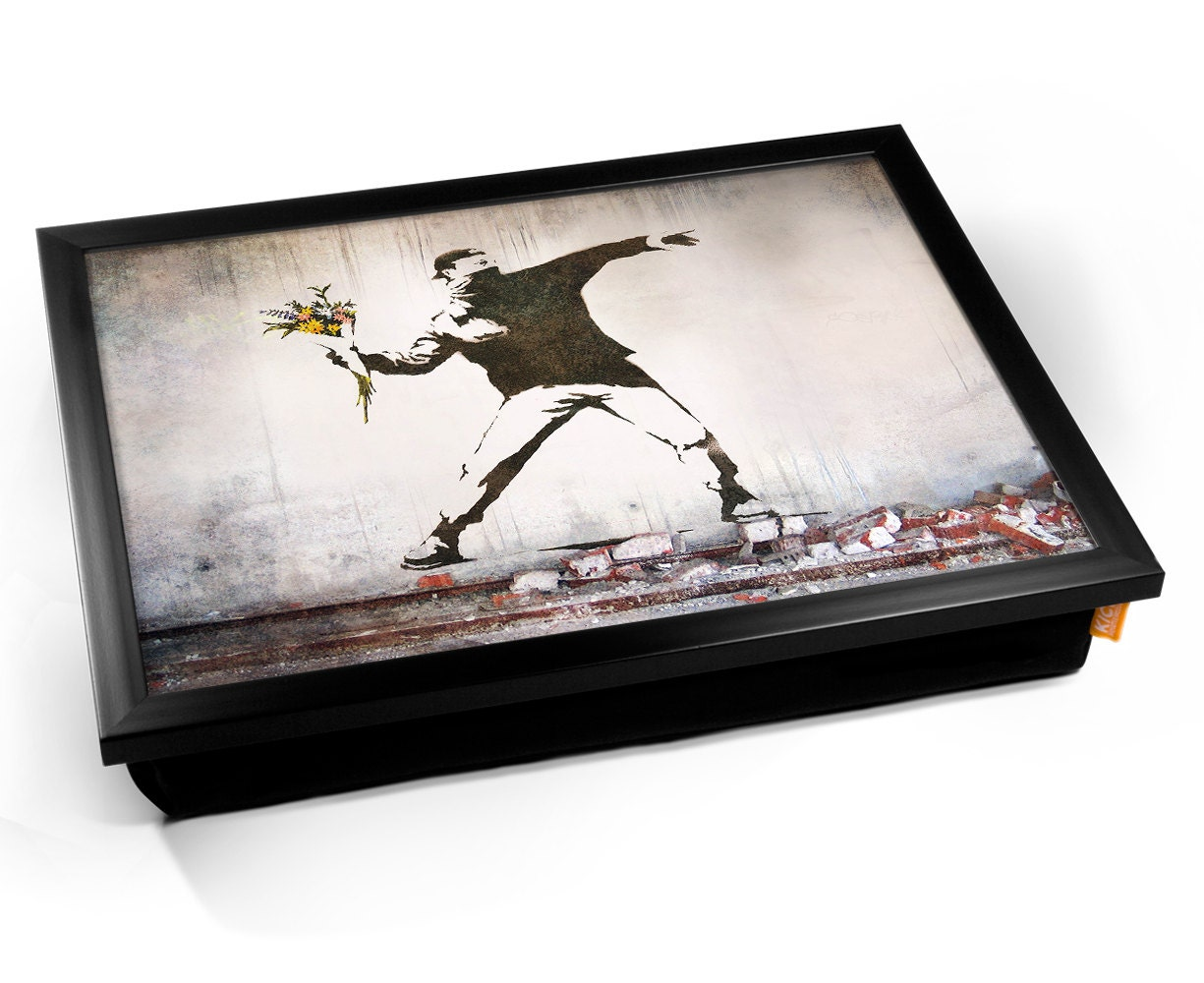 banksy thug flowers cushioned lap tray etsy. Black Bedroom Furniture Sets. Home Design Ideas