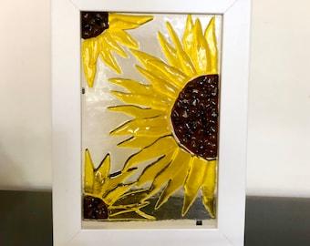 Sunflower glass art box frame, fused glass, garden lover, birthday flowers, new home gift, summer greetings
