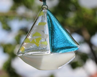 Fused glass sailboat sun catcher, hanging ornament, nautical nursery decor, gift for new baby boy, window decoration