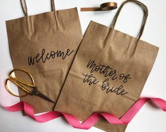Custom Kraft Gift bags | Personalized gift bags | Groomsman Gift Bags | Wedding Welcome Bags | Bridesmaid Gift Bags | Calligraphy Gift bags