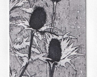 Original unique monoprint of a Physalis seed pod