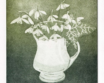 Cup of Hope, Etching Fine Art Original Print of a mug of snowdrops