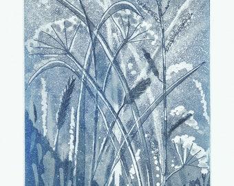 Summer Meadow Etching Original Print