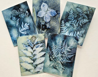 Botanical art cards, multi pack of five cards from original wet cyanotype prints by Jill Welham from The Secret Garden Collection