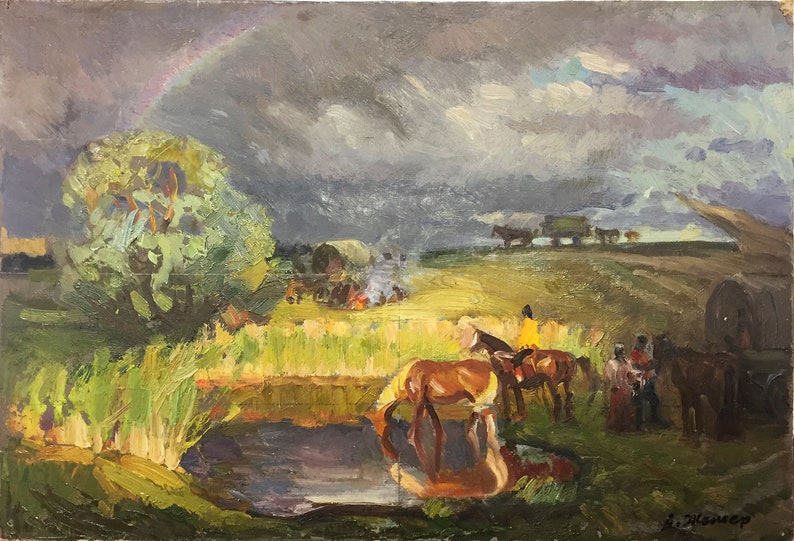 Great genre scene, beautiful landscape, storm, evening, summer, horses,  painting by famous artist, OIL painting Ukrainian professional art