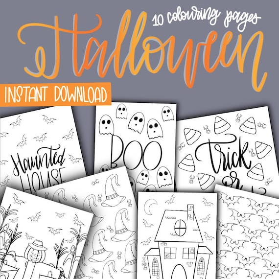 Halloween Colouring Sheets  10 Pages  INSTANT DOWNLOAD