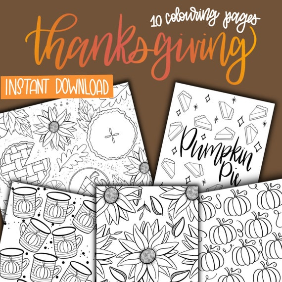 Thanksgiving Colouring Sheets  10 Pages  INSTANT DOWNLOAD