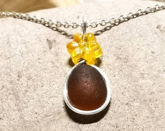 silver-plated wire necklace Yellow sea glass pendant