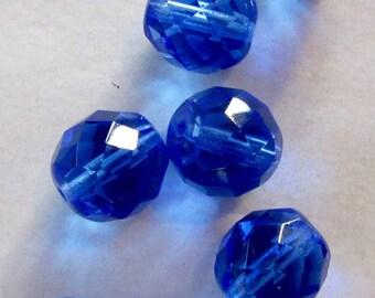 10 blue glass beads, 12mm