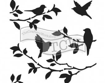 Stencil Birds in branches 30 x 30cm