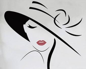 HAPPY Sticker mural Silhouette femme avec chapeau