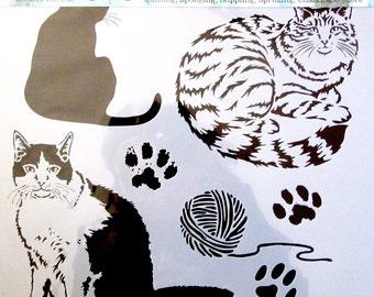 Reusable stencil - Theme: cats