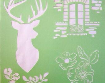 Stencil reusable-Theme: deerflowers