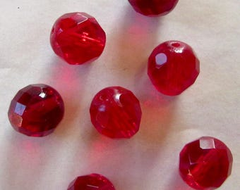 10 red glass beads, 12mm