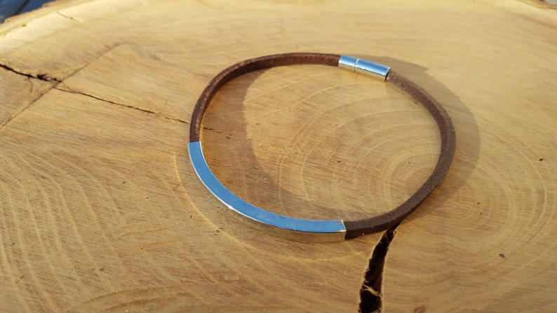 Leather strap brown with metal tube