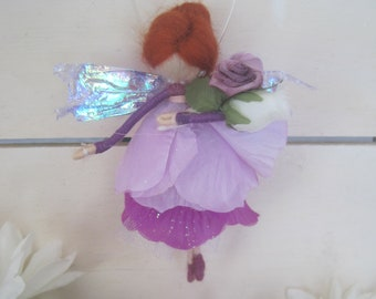 Bridal Party Felted Wool Fairy Ornament