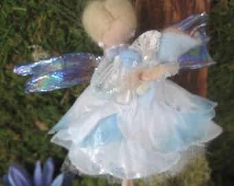 New Baby Boy Baby Shower Felted Wool Fairy Ornament