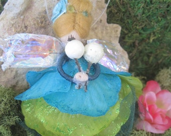 Green and Blue Felted Wool Garden Fairy